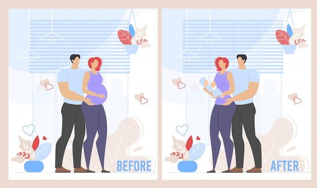 Vor der geburt und nach der schwangerschaft cartoon set