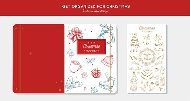 Vor frohe weihnachten veranstalter, planer mit handgezeichneten illustrationen und handschriftlicher kalligraphie.
