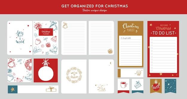 Vor frohe weihnachten veranstalter, planer, tagebuch mit handgezeichneten illustrationen und handschriftlicher kalligraphie.