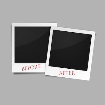 Vor und nach bilderrahmen