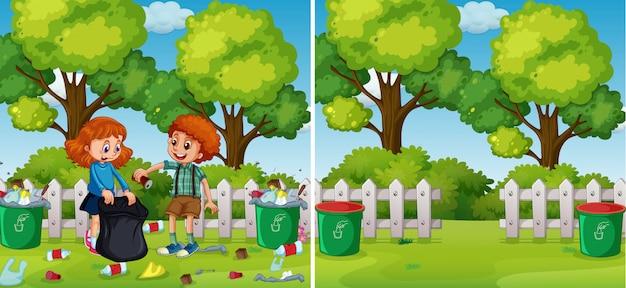 Vor und nach dem kinderreinigungspark