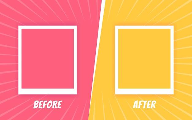 Vor und nach der vorlage. zweifarbiger retro