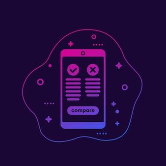 Vor- und nachteile mobile app, vektor