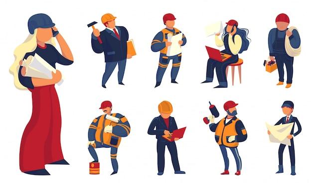 Vorarbeiter icons set. karikatursatz vorarbeiterikonen