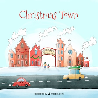 Vorbei an einer weihnachtsstadt im auto