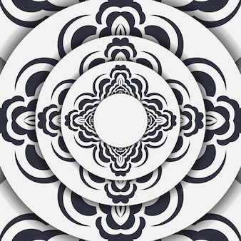 Vorbereiten einer hellen postkarte mit einem abstrakten ornament. vektor-vorlage für druckbare design-einladungskarte mit mandala-mustern.