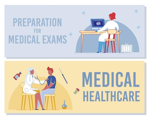 Vorbereitung auf medizinische prüfungen. banner für das medizinische gesundheitswesen. ärztin, die röntgen auf computerbildschirm studiert. ärztin, die mannpatient mit stethoskop untersucht. health checkup illustration