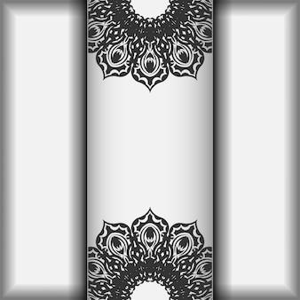 Vorbereitung einer einladung mit platz für ihren text und ihre muster. vektor-vorlage für print-design-postkarte weiße farbe mit schwarzen mandala-mustern.