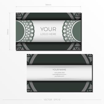 Vorbereitung einer einladungskarte mit platz für ihren text und vintage-muster. luxuriöse vektorvorlage für printdesign-postkarte in weißer farbe mit dunklen griechischen mustern.