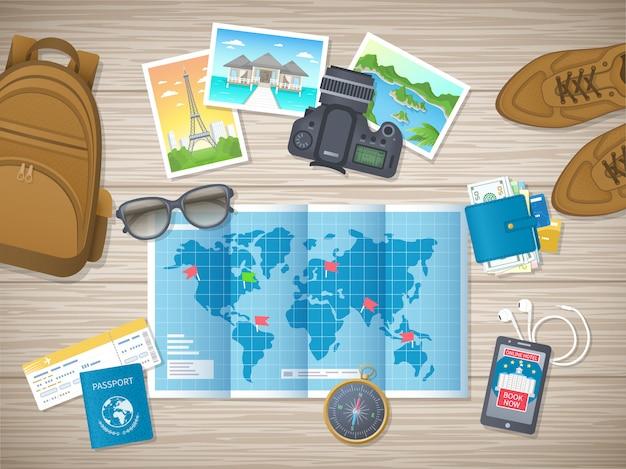 Vorbereitung für urlaub, reisen, reisen.