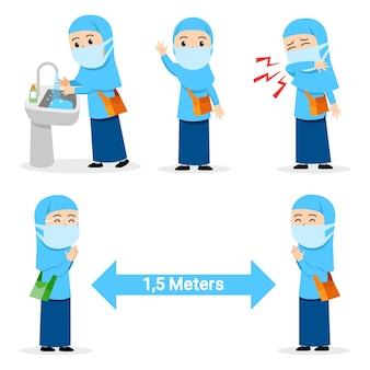 Vorbeugender grippeakt, der von einer muslimischen studentin verbreitet wird