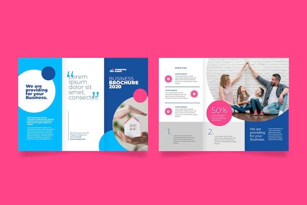 Vorder- und rückseite bewegen haus dreifach broschüre