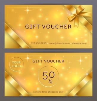 Vorder- und rückseite des luxus-geschenkgutscheins mit goldenen bändern, schleifen. isoliert elegante funkelnde, leuchtende vorlage für weihnachtskarte, gutschein und zertifikat