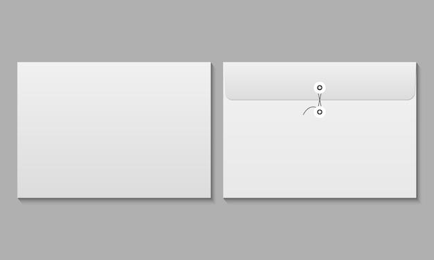 Vorder- und rückseite des realistischen weißen umschlagmodells. modell der umschläge.