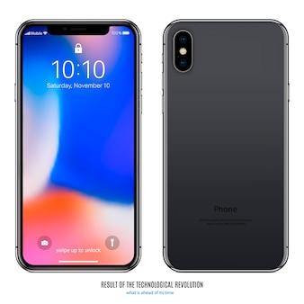 Vorder- und rückseite des smartphones mit farbigem bildschirm