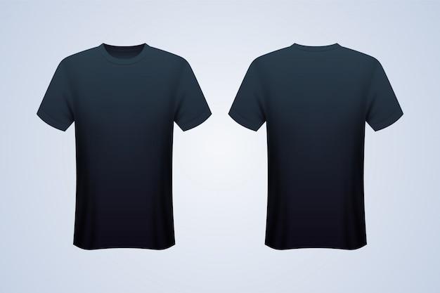 Vorder- und rückseite schwarzes t-shirt mockup