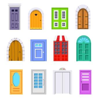 Vorderansicht der eingangstür einstellen. häuser und gebäude element im cartoon-stil.