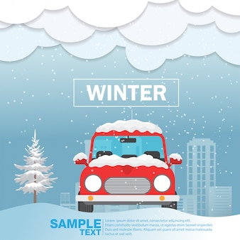 Vorderansicht des autos über schneewintersaison vektor-illustration