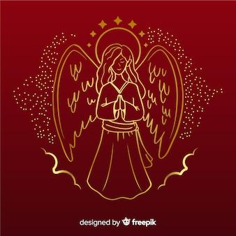 Vorderansicht des goldenen weihnachtsengels mit rotem hintergrund