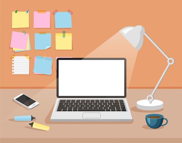 Vorderansicht des kreativen büroraums. arbeitsbereichsvorlage. moderner geschäftsarbeitsplatz mit leerer weißer computeranzeige, schreibwarenaufkleber, tischlampe, telefon, filzstiften, tasse. vektorillustration.