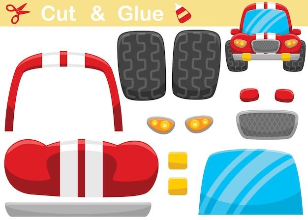 Vorderansicht des lustigen rennwagen-cartoon. bildungspapierspiel für kinder. ausschneiden und kleben