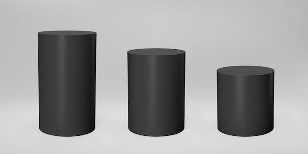 Vorderansicht des schwarzen 3d-zylinders und ebenen mit perspektive isoliert