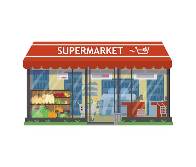 Vorderansicht des supermarktgebäudes und außenregale des innenladens mit wareneinkaufswagen
