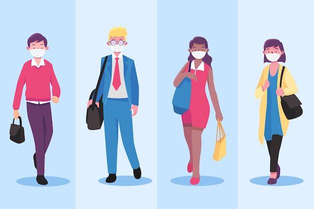 Vorderansicht leute, die zurück zur arbeit gehen, tragen gesichtsmaske