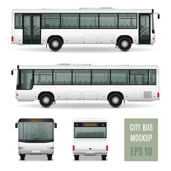 Vorderansicht und rückseite der modernen werbe-schablone des stadtbus realistische vorderansicht auf weißem hintergrund lokalisierte vektorillustration