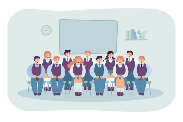 Vorderansicht von klassenkameraden, die auf stühlen für foto lokalisierte flache illustration sitzen