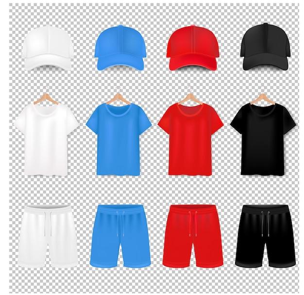 Vorderansichten des t-shirts und der baseballkappe und des kurzen auf transparentem hintergrund mit farbverlaufsgitter