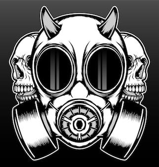 Vordere gasmaske mit schädel lokalisiert auf schwarz