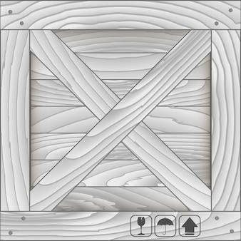 Vordere holzkiste und zerbrechliches symbol