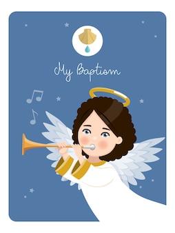 Vordergrund engel, der die trompete spielt. meine tauferinnerung an einem blauen himmel. flache vektorillustration