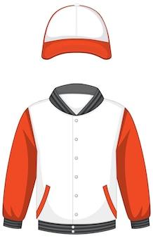 Vorderseite der weißen und orangefarbenen bomberjacke und mütze isoliert