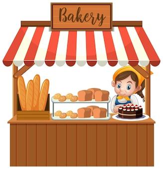 Vorderseite des bäckereigeschäfts mit bäcker lokalisiert auf weißem hintergrund