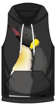 Vorderseite des hoodies ärmellos mit pinguinmuster Kostenlosen Vektoren