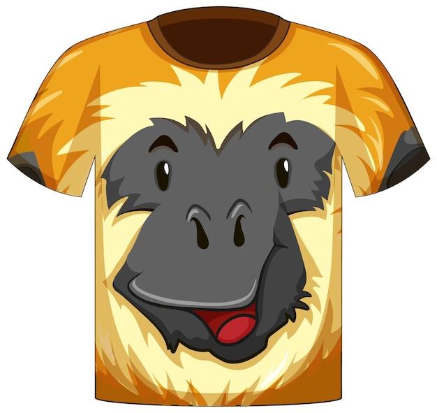 Vorderseite des t-shirts mit gesicht im gibbon-muster
