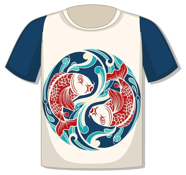 Vorderseite des t-shirts mit koi-karpfen-vorlage