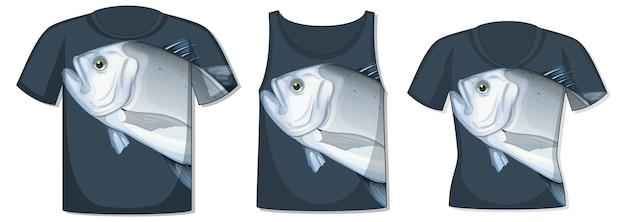 Vorderseite des t-shirts mit riesiger makrelenfisch-vorlage