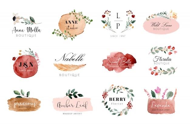 Vorgefertigte logo-blumen- und pinselstrich-aquarell-kollektion
