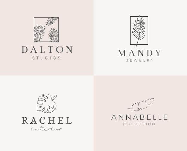 Vorgefertigtes logo-design mit minimalistischem blumenkranz. weibliche firmenzeichenschablone im eleganten künstlerischen stil
