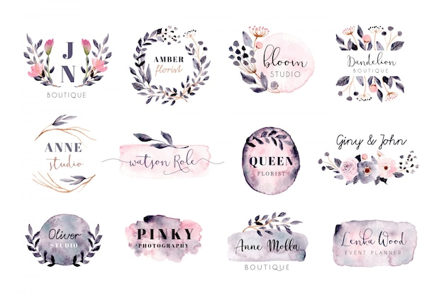 Vorgefertigtes logo mit grau-rosa pinselstrich und blumenaquarell