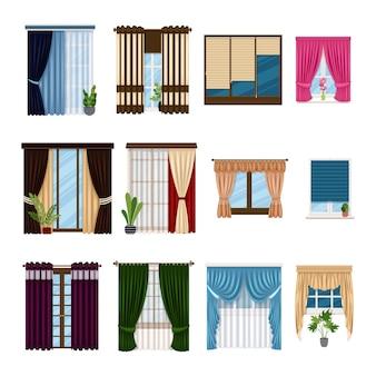 Vorhänge drapiert strumpfbänder und andere web-symbole im cartoonschwarzumriss-stil textilien möbel bogen symbole...
