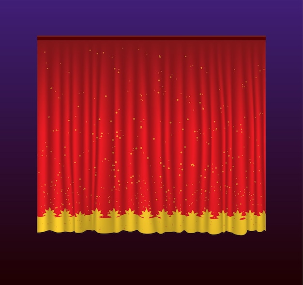 Vorhänge - realistische rote vorhänge des vektors. hintergrund mit farbverlauf. hochwertige clipart für präsentationen, banner und flyer mit kino-, konzert- und preisverleihungsillustrationen.