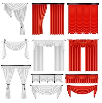 Vorhänge und vorhänge aus rotem und weißem samtseide. innen realistische luxus scharlachrote vorhänge dekoration design