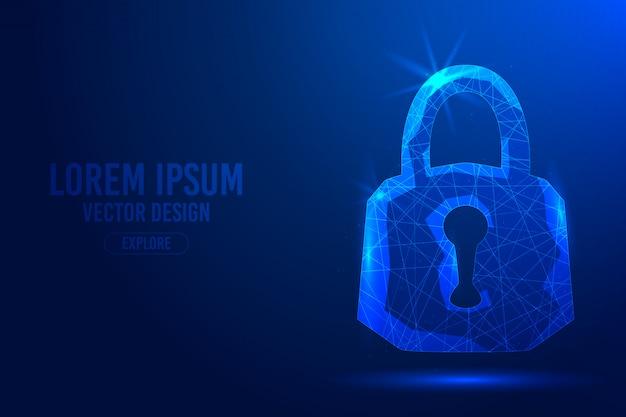 Vorhängeschloss auf einem blauen abstrakten hintergrund. lineares und polygonales 3d-konzept von sicherheit, schutz und bedrohung durch das internet.