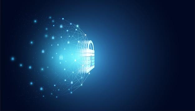 Vorhängeschloss des abstrakten cyber-sicherheitsdatenschutz-netzwerkkonzepts