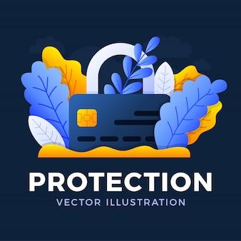 Vorhängeschloß mit der kreditkartenvektorillustration lokalisiert. das konzept des schutzes, der sicherheit und der zuverlässigkeit eines bankkontos. vorderseite der karte mit geschlossenem schloss.