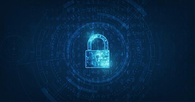Vorhängeschloss mit schlüssellochsymbol in der sicherheit personenbezogener daten veranschaulicht die idee zum schutz von cyberdaten oder informationen. blaue farbe abstrakte hi-speed-internet-technologie.